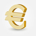 Vector golden euro sign on white Stock Image