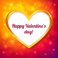 Vector golden frame valentines greeting card Stock Photography