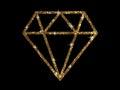 Vector golden glitter of flat diamond icon