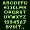 Vector golden and green neon alphabet on dark