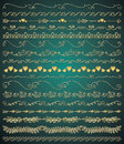 Vector golden hand sketched seamless borders collection of royal luxury artistic rustic decorative doodle vintage swirls branches Stock Photography