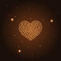 Vector golden heart from butterflies. Gold heart icon.