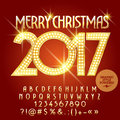 Vector golden light up Merry Christmas 2017 greeting card