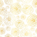 Vector Golden On White Peony Flowers Summer Seamless Pattern Background. Great for elegant gold texture fabric, cards
