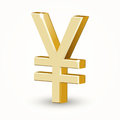 Vector golden yen sign isoklated on white Stock Photos