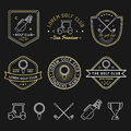 Vector golf logos set. Sports club linear illustrations collection for icons, badges and labels.