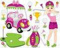 Vector Golf Set with Girl Playing Golf. Vector Golfer. Golf Vector Illustration.
