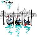 Vector Gondolas in Venice lagoon, Italia Royalty Free Stock Photo