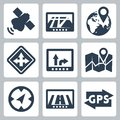 Vector gps and navigation icons set Royalty Free Stock Photography