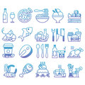 Vector gradient line Set of flat icons and elements about food and drink