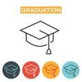 Vector graduation cap icons.