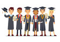 Vector graduation concept with students, college graduate