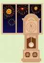 Vector grandfather clock in the room Royalty Free Stock Photography