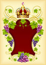 Vector grape frame with crown Stock Images