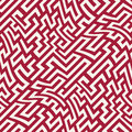 Vector graphic abstract geometry maze pattern. red seamless geometric background
