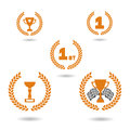 Award winning icon set. Simple flat symbols. Sports and race first place championship gold wreath medal and cup. Competition winne Royalty Free Stock Photo