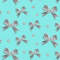Vector graphic bows with hearts. Cute woman decoration. Striped white black stain bow pattern. Satin gift wrap for Royalty Free Stock Photo