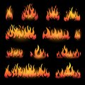 Vector graphic flames illustration isolated on black Royalty Free Stock Photo