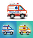 Vector graphic illustration ambulance car blue orange yellow Royalty Free Stock Photo