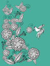 Vector graphic illustration with beautiful vintage stylized flowers and bird Royalty Free Stock Image