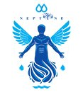 Vector graphic illustration of muscular human, individual made with bird wings. Pure water is free life, Poseidon the god of sea