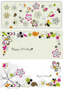 Vector graphic set with flowers Royalty Free Stock Photo