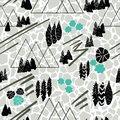 Vector graphic style mountain scene repeat seamless pattern background with a cracked soil texture. Gorgeous on fabric, wallpaper,