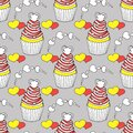 Vector graphic of the various sweets and desserts decorated into seamless pattern. Valentine`s day seamless pattern of