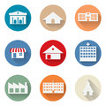 Vector of graphical urban building flat design icon Royalty Free Stock Photo