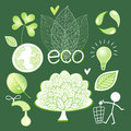 Vector graphics and icons ecology bright green different images of the elements of design Stock Images