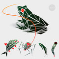 Vector graphics, illustration for a gaming application, marsh monstrych enemies: frog, a spider, a tadpole, a leech Royalty Free Stock Photo