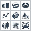 Vector graphs and charts icons set isolated Royalty Free Stock Photos