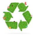 Vector grass recycle symbol ecological concept illustration Royalty Free Stock Photos