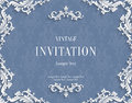 Vector Gray 3d Vintage Invitation Card with Floral Damask Pattern
