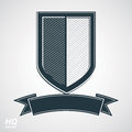 Vector grayscale defense shield with curvy ribbon, protection design graphic element. Royalty Free Stock Photo