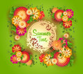 Vector green background with floral frame and space for text