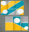 Vector green brochure layout design with yellow el elements business three fold flyer template Stock Photography