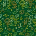 Vector green chalkboard style sunflowers, birds and bees repeat pattern. Suitable for gift wrap, textile and wallpaper