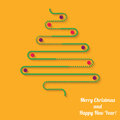 Vector green Christmas tree with balls on orange background Royalty Free Stock Photo