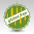 Vector green gluten free paper price tag label wheat stalks Royalty Free Stock Photo