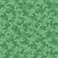 Vector green monotone hand drawn leaves repeat pattern. Suitable for gift wrap, textile and wallpaper