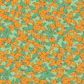 Vector green and orange hand drawn leaves repeat pattern. Suitable for gift wrap, textile and wallpaper