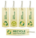 Vector GREEN RECYCLED Labels Royalty Free Stock Images