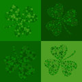 Vector green seamless background with clover shamrock Stock Image