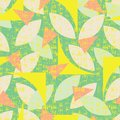 Vector green seamless pattern of colorful abstract geometric shapes with grunge texture. Suitable for textile, gift wrap and
