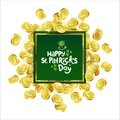 Vector Green square Advertising frame. Scattered golden coins depicting shamrock with lettering text St. Patricks Day