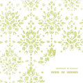 Vector green textile damask flower frame corner Royalty Free Stock Photo