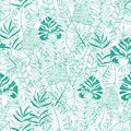 Vector green tropical leaves summer hawaiian seamless pattern with tropical green plants and leaves on navy blue
