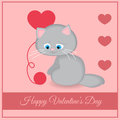 Vector greeting card with cat illustration of Stock Photo