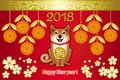 Greeting card Chinese New year with Golden tangerines and dog on Royalty Free Stock Photo